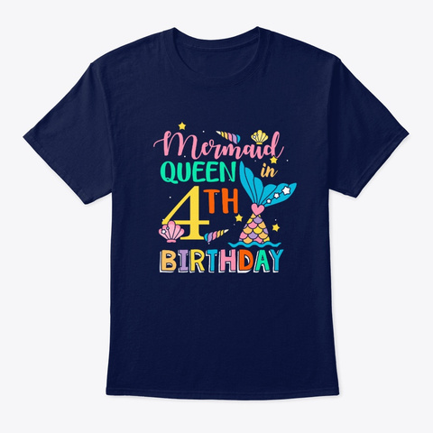 Mermaid Queen In 4th Birthday T Shirt Navy T-Shirt Front