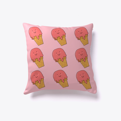 Cute Smiling Strawberry Ice Cream Pillow Pink T-Shirt Back