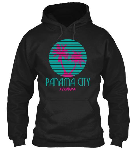 Panama City Florida Palm Trees Fl Black T-Shirt Front