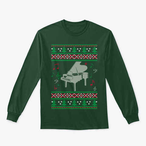 Piano  Christmas Forest Green T-Shirt Front