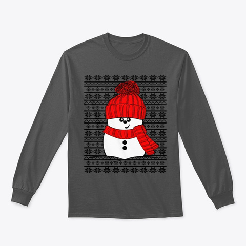 Jolly Snowman With Red Hat And Scarf Charcoal T-Shirt Front