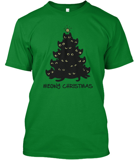 Meowy Christmas Bright Green T-Shirt Front