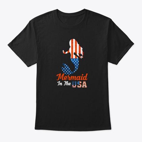 Mermaid T Shirt Usa Patriotic Flag  Black T-Shirt Front