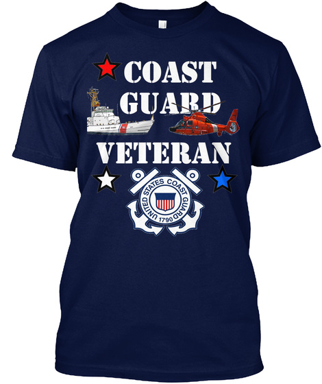 Cg Veteran T Shirt Design 1 Navy T-Shirt Front
