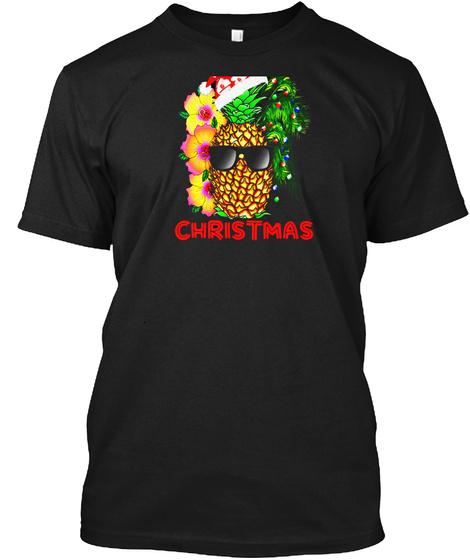Merry Christmas Funny Pineapple T Shirt Black T-Shirt Front