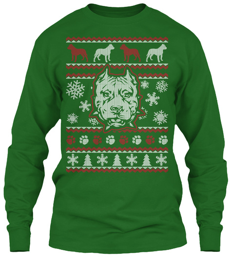 pitbull ugly christmas sweater tee irish green long sleeve t shirt front