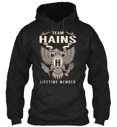 Team Hains H Lifetime Member Black T-Shirt Front