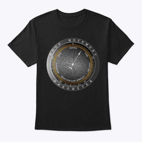 Wood Movement Barometer V2 Black T-Shirt Front