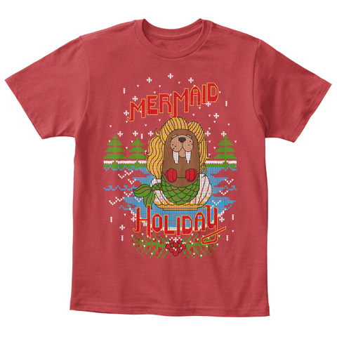 Mermaid Holiday Classic Red T-Shirt Front