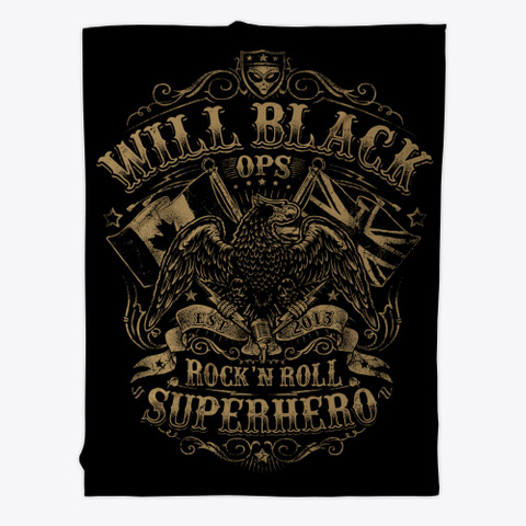 Will Black 'ops' Logo (Gold) Black T-Shirt Front