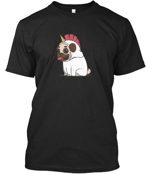 Mops Einhorn Ellesson Black T-Shirt Front