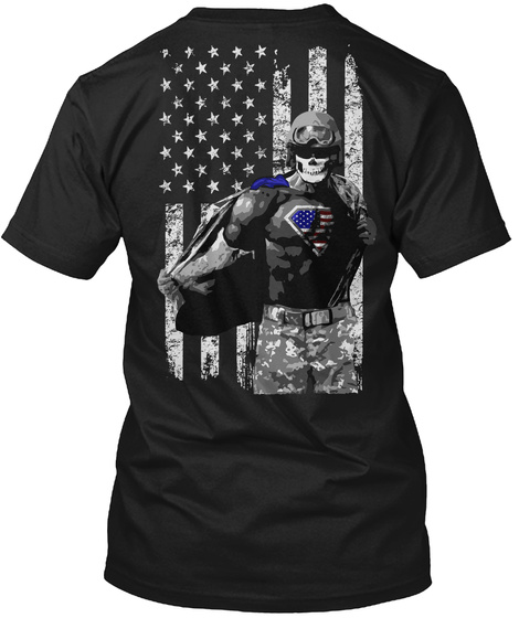 Real American Superheroes! Black T-Shirt Back