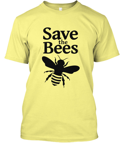 5f02d16e from BROOKE'S HONEY BEE TEES. Save The Bees Lemon Yellow T-Shirt Front