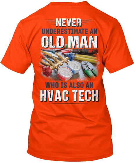 Awesome Hvac Tech Shirt Orange T-Shirt Back