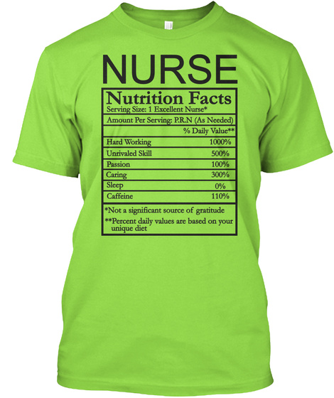 5cadd3f8 Nurse Nutrition Facts Serving Size 1 Excellent Nurse Amount Per Serving  P.R.N As Needed Daily Value