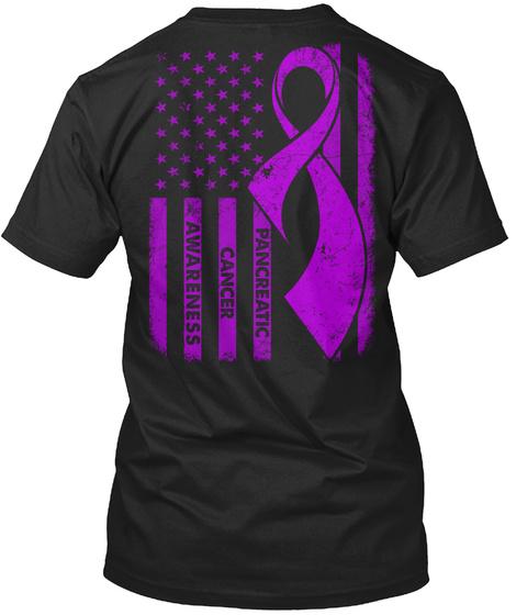 Pancreatic Cancer Awareness Black T-Shirt Back