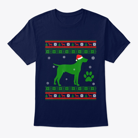 German Shorthaired Pointer Dog Christmas Navy T-Shirt Front