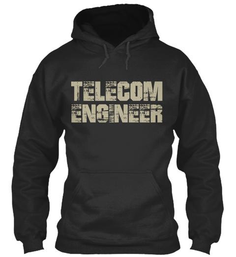 Telecom Engineer Jet Black T-Shirt Front
