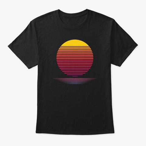 Vaporwave Paradise Aesthetic Retrowave R Black T-Shirt Front
