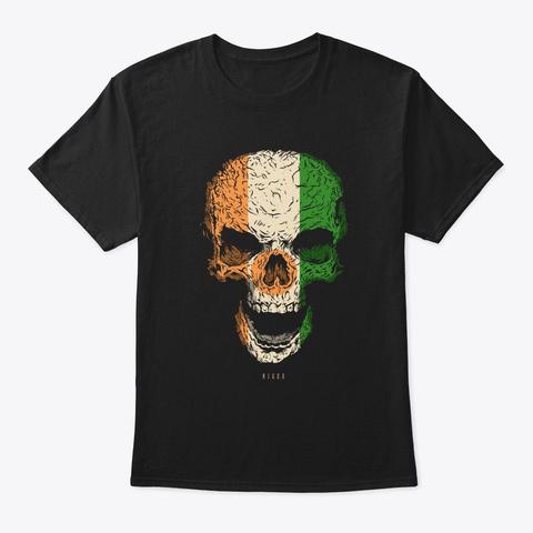 Skull Niger Flag Skeleton Black T-Shirt Front
