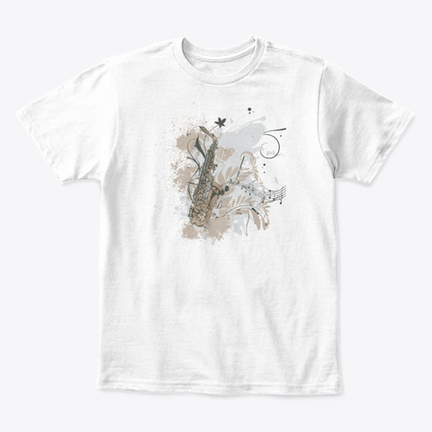 Saxophone White T-Shirt Front