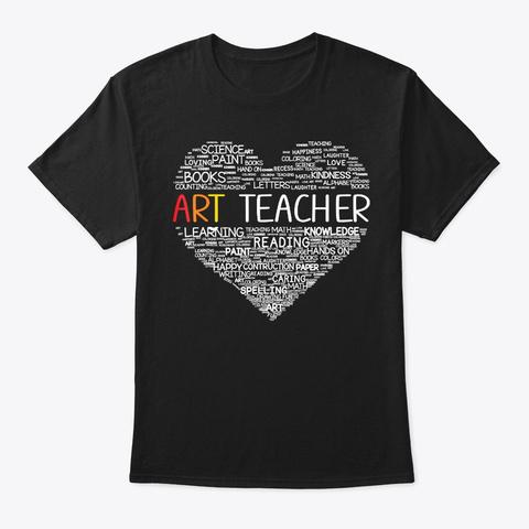 Funny Art Teacher Costume Heart Back To Black T-Shirt Front