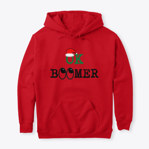 Ok Boomer Ugly Christmas Eye Roll Red T-Shirt Front