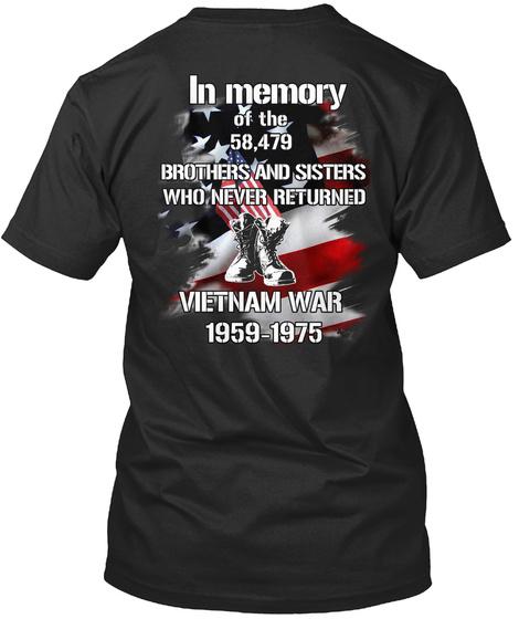 Memory Vietnam 59 75 Black T-Shirt Back