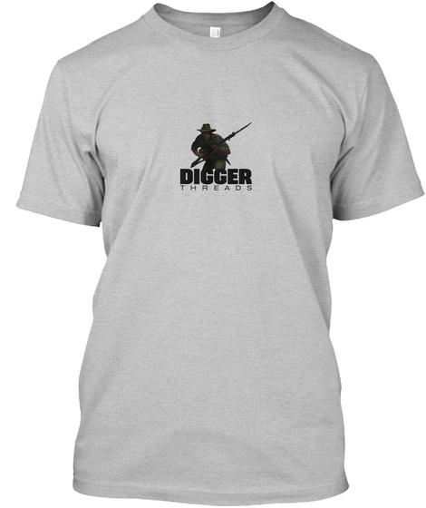 Digger Threads Light Heather Grey  T-Shirt Front