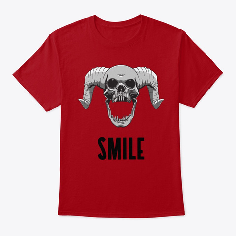 Funny Halloween Skull With Horns Deep Red T-Shirt Front
