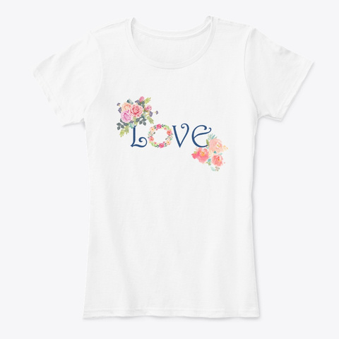 Love Floral White T-Shirt Front