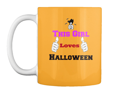This Girl Loves Halloween Athletic Gold Mug Front