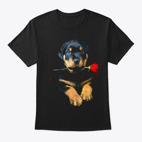 Rottweiler And Rose ! Black T-Shirt Front