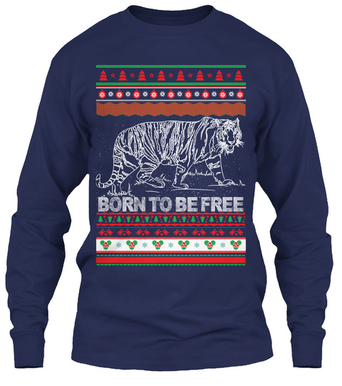Born To Be Free Navy T-Shirt Front