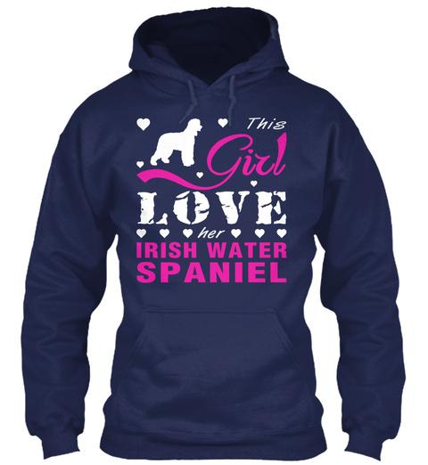Irish Water Spaniel Gift Shirt Navy T-Shirt Front