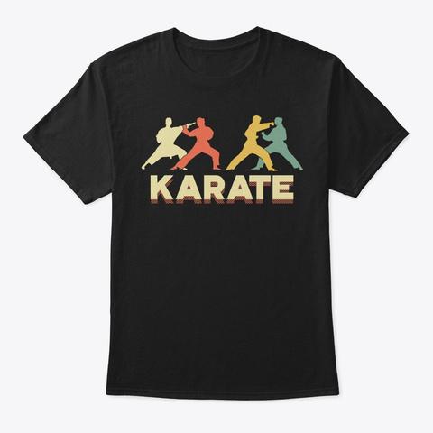 Retro Silhouette Vintage Karate Lover Black T-Shirt Front