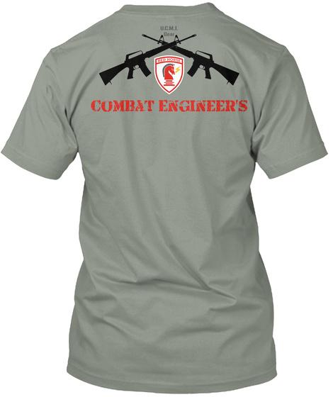 U.C.M.I Bear Red Horse  Combat Engineer's Grey T-Shirt Back