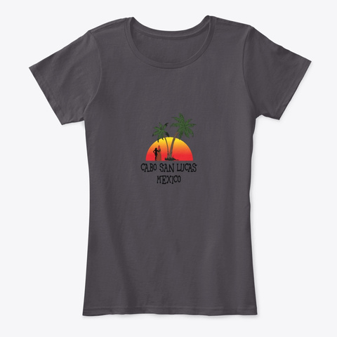 Cabo San Lucas Mexico Sunset Heathered Charcoal  T-Shirt Front