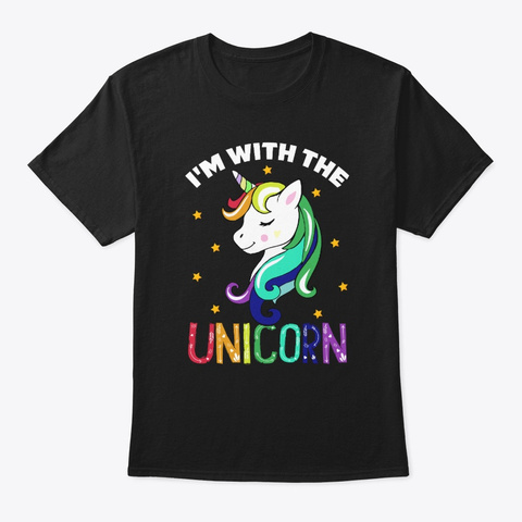Funny I'm With The Unicorn Lovers Gift Black T-Shirt Front