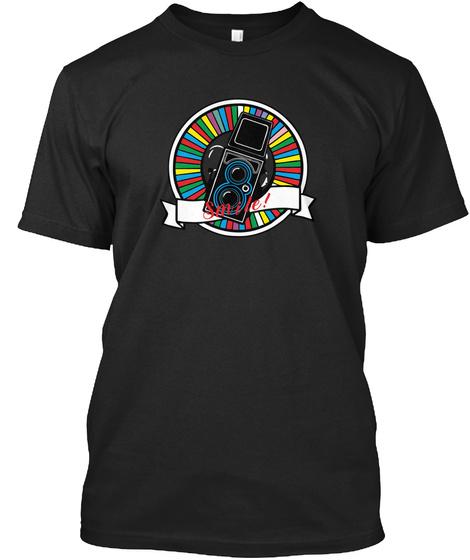 Vintage Camera Smile Black T-Shirt Front