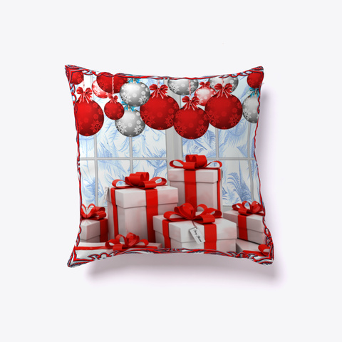 Frosty Christmas Morning   Throw Pillow Dark Red T-Shirt Front