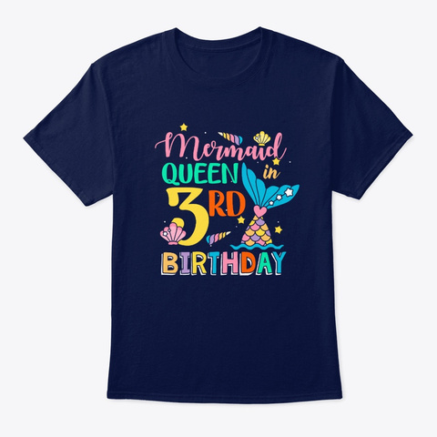 Mermaid Queen In 3rd Birthday T Shirt Navy T-Shirt Front