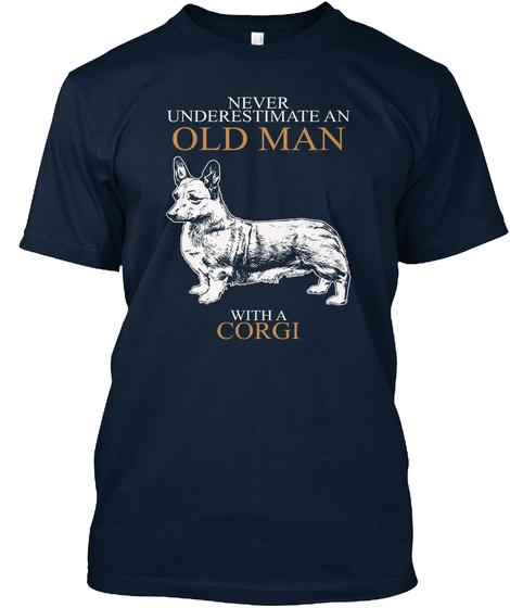 Tshirt Old Man Corgi Dog New Navy T-Shirt Front