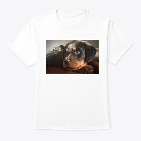 Roscoe The Rotty  White T-Shirt Front
