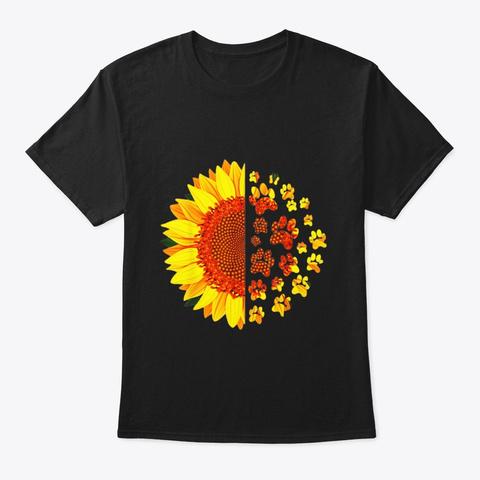 Sunflower Dog Mom Vet Tech Rescue Pug Black T-Shirt Front