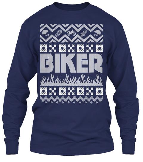 Biker Holiday Ugly Christmas Sweatshirt Navy T-Shirt Front