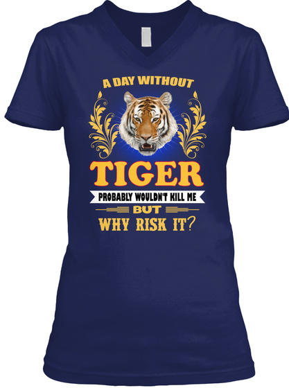 Tiger Animals Lover Navy T-Shirt Front