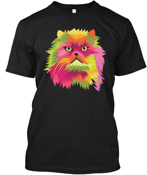 Pop Art Shirt Cat Head Orange Graphic Black T-Shirt Front
