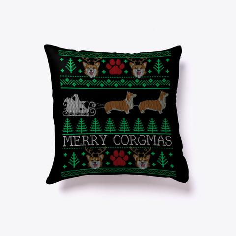 Funny Corgi Ugly Christmas Sweater Black T-Shirt Front