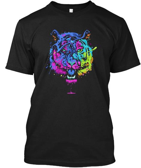 Psychedelic Tiger Funny Big Cat Black T-Shirt Front